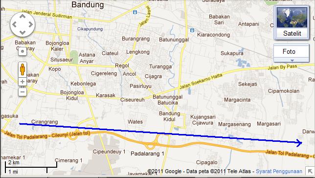 PETA JALAN kasar ke Curug Cinulang, Cicalengka | jalan kuliner khas