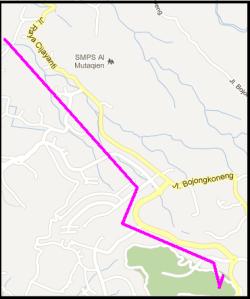 peta alternatif SENTUL CIPAYUNG D1 bukit pelangi