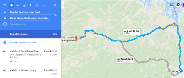 peta jalan kasar Ciwidey Curug Malela Bandung Barat