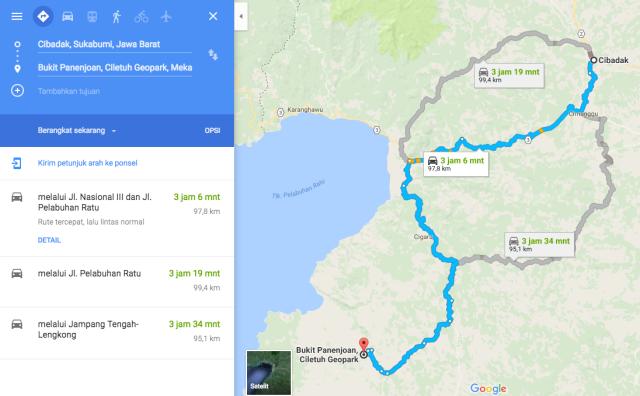 peta jalan kasar Cimanggu Bukit Panenjoan Ciletuh