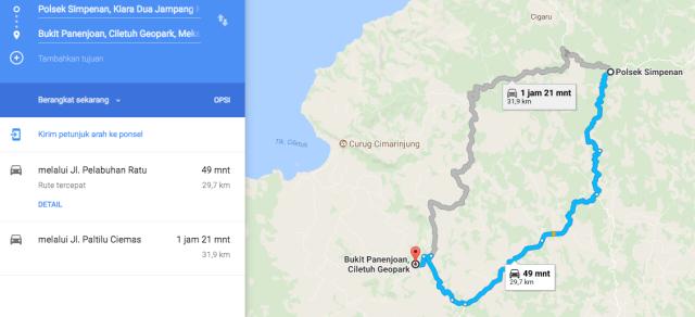 peta jalan kasar Polsek Simpenan_Bukit Panenjoan